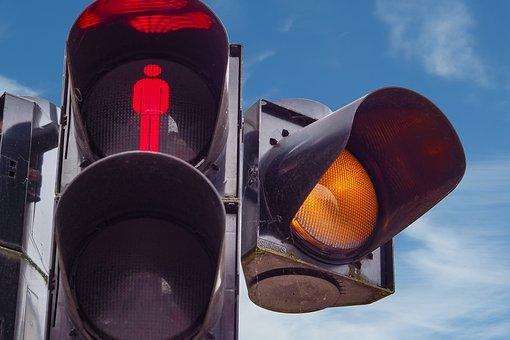 Traffic Lights, Footbridge, Red, Attention, Yellow