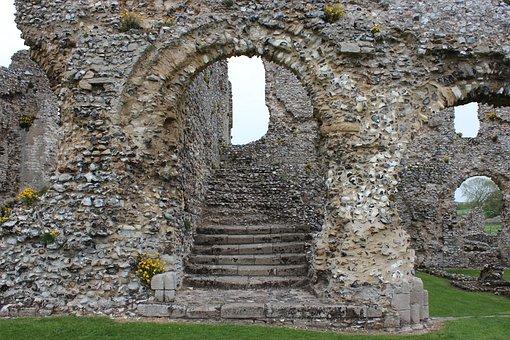 Stairway, Ruins, Doorway, Castle Acre Priory, Norfolk
