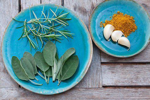 Spice, Rosemary, Sage, Garlic, Curry, Plate, Ceramic