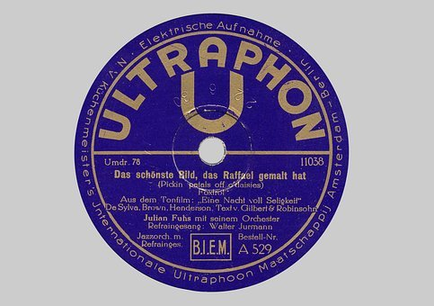 Shellac Disc, Shellac, 78rpm, Label, Ultraphon, Tinge