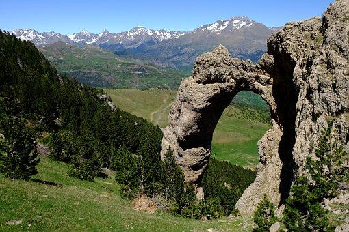 Pyrenees, Lake, Landscape, Mountains, Arc, Stone