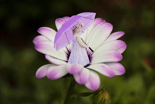 Flower, Purple, Summer, Umbrella, Little Girl, Girly