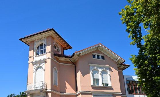 Villa, Town Home, Pink, Sky, Tree, Summer, Light