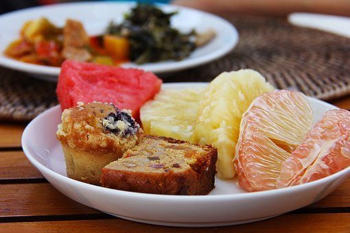 Breakfast, Fruits, Cake, Grapefruit, Water Melon