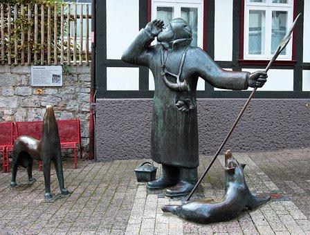 Night Watchman, Bronze, Mice, Horn, Call, Statue, Art