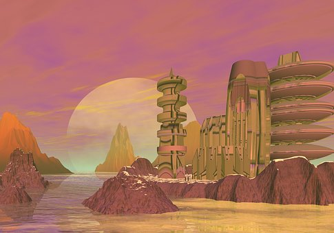 Planet, Rocks, City, Base, Fiction, Blue, Blue Sky