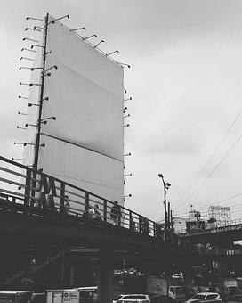Blank Billboard, Footbridge, Black And White