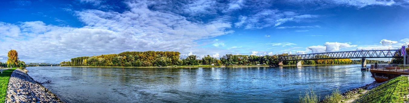 Rhine, River, Bank, Panorama, Sky, Clouds, Blue Mood