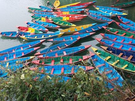 Nepal, Pokhara, Boat, Asia, Lake, Landscape, Phewa