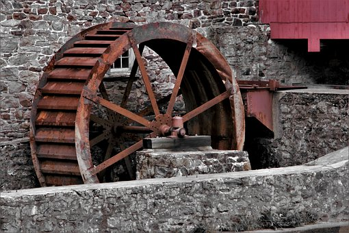 Water Wheel, Mill, Clinton, Architecture, Watermill