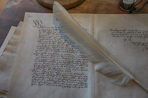 Desk, Old, Feather, Pen, Old Script, Written, Paper