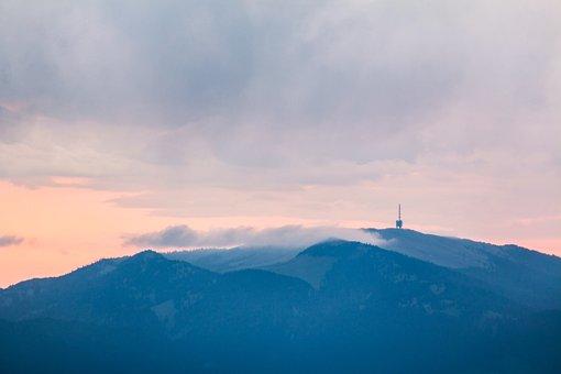 Tv Tower, Mountains, Morning, Fog, Hike, Silent