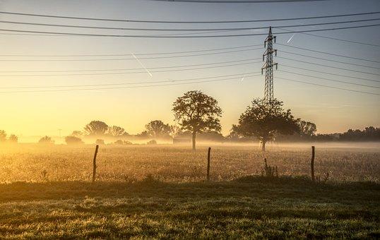 Sunrise, Sun, Fog, Autumn, Power Line, Strommast