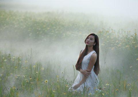 Girl, Flower Garden Improvement, Yellow, Mist