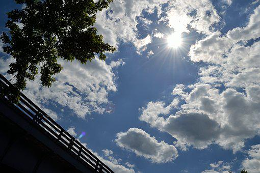 Clouds, Sun, Trees, Bridge, Sky, Blue, Light, White