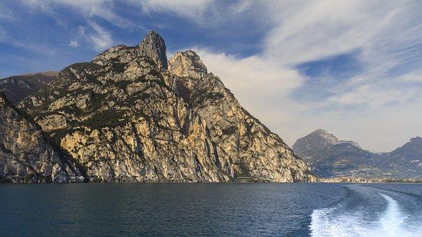 Mountains, Boat Trip, Garda, Italy, Mediterranean