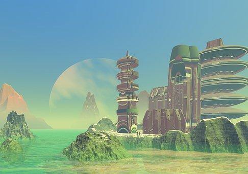 Planet, Rocks, City, Base, Fiction, Blue Sky, Ocean