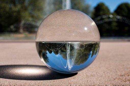 Fountain, Pforzheim, Glass Ball, On The Head, View