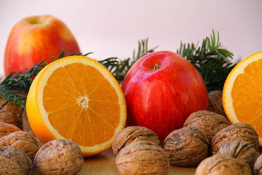 Orange, Nuts, Apple, Advent, Christmas, Red, Delicious