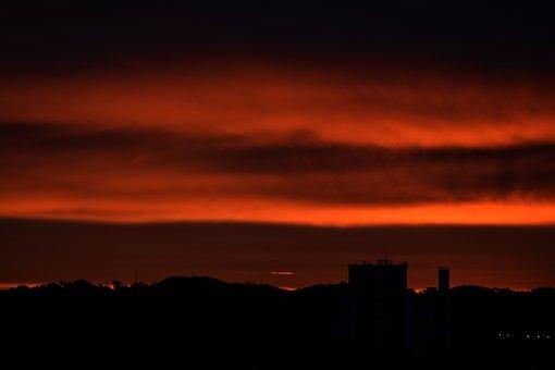 Sky, Nature, Landscape, Red Sky, Bloodred Sky, Red