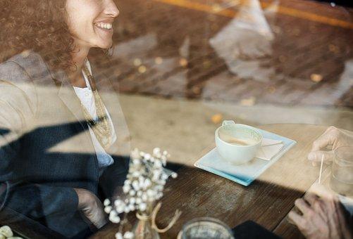 Cup, Restaurant, Drinks, Business, Break, Woman, Smile