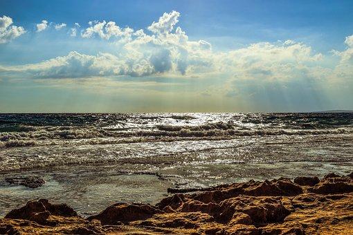 Rocky Coast, Sea, Sky, Clouds, Sunshine, Sunbeam, Rays