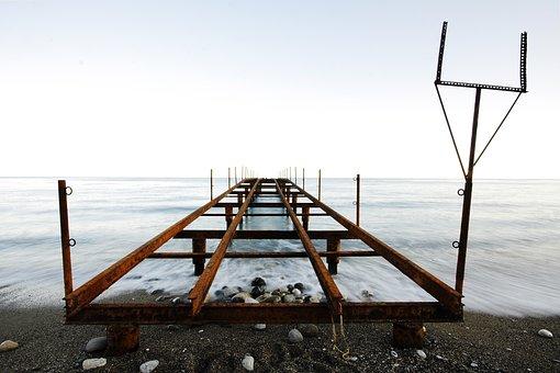 Iskele, Old, Rusty, Beach, Marine, Antalya, Winter