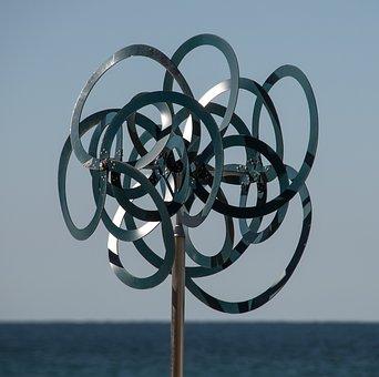 Metal, Silver, Circles, Spinning, Wind, Sculpture, Art