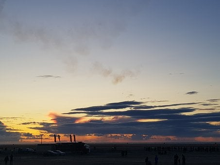 Sunset, Beach, Seaside, Southport, Air Show, Cars
