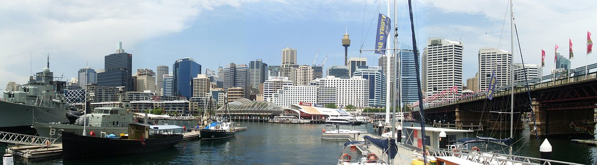 Australia, Sydney, Port, Panorama, Architecture, Cities