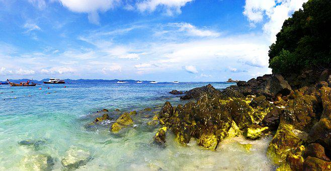 The Popularity Of The Sea, Reef, Blue Sky, Ship