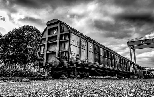 Train, Railway, Wagon, Black And White, Hdr