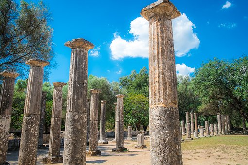 Columns, Ancient Olympia, Ruins, Ancient Greece
