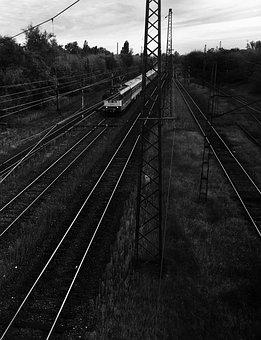 Train, Rail, Rails, Black And White, Locomotive