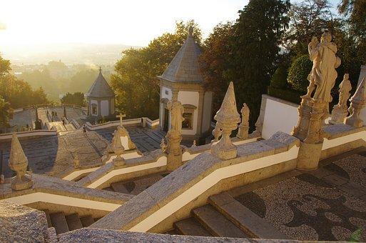 Sunset, Bom Jesus Sanctuary, Portugal, Braga, Stairs