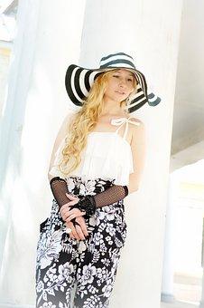 Hat, Gloves, Lady, Grace, Blonde, Long Hair, Curls