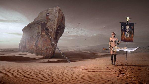 Fantasy, Desert, End Time, Dry, Woman, Warrior, Flag