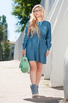 Blue, Portrait, Girl, Woman, In Glasses, Gait, City