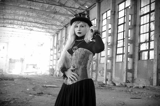 Steampunk, Plant, An Abandoned, Hat, Glasses, Corset
