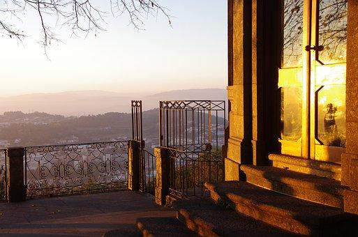 Sunset, Mountains, Portugal, Bom Jesus Sanctuary, Gate