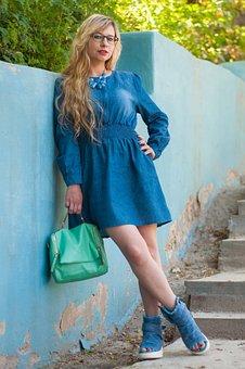 Blue, Portrait, Girl, Woman, In Glasses, Wall, Paint
