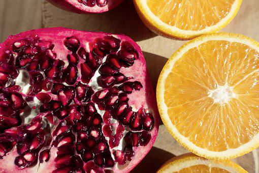 Pomegranate, Red, Orange, Fruit, Sliced, Delicious