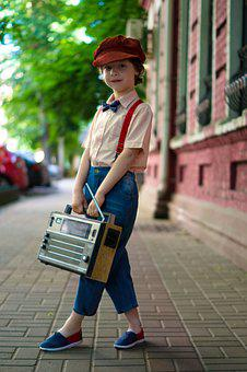 Boy, Radio, Retro, Vintage, Hat, Kids, Classic