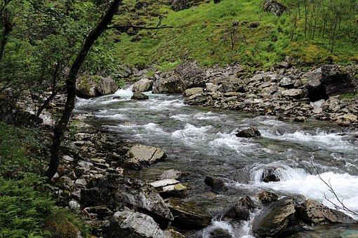 Mountain Stream, Norway, Wild, Rock, Water Running