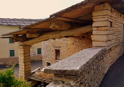 Stone, House, Roof, Wall, Stones, Beam, Pillar