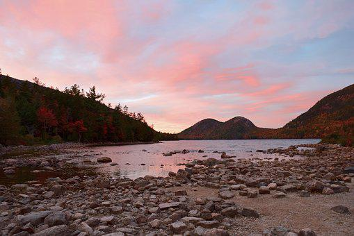 Sunset, Lake, Shoreline, Rocks, Sand, Sky, Reflection