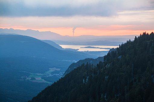Sunrise, Silhouettes, Mountains, Lake, Switzerland