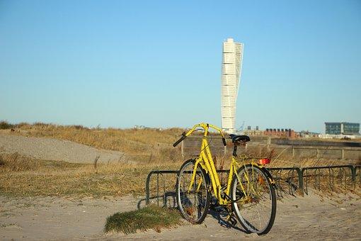 Beach, Yellow, Cycle, Malmö, Bike Racks, The Bar