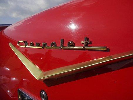 Vintage Chevrolet, Red Chevvy, Chevrolet V Badge