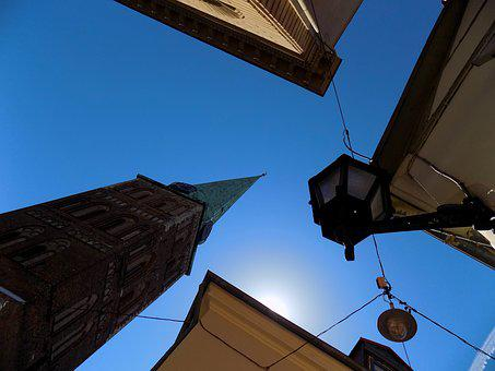 Sky, Blue, Tower, Spire, Roof, Building, Lantern, Wall